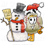 sports-clip-art-of-a-festive-baseball-mascot-cartoon-character-with-a-white-snowman-on-christmas-by-toons4biz-1385